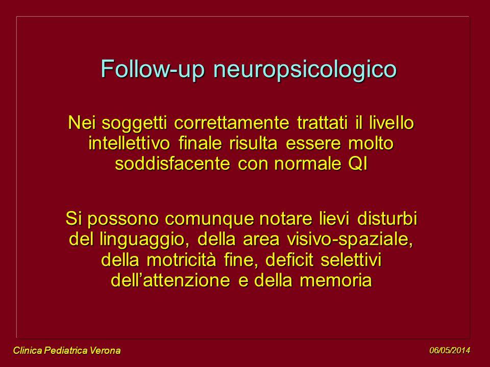 06/05/2014 Clinica Pediatrica Verona Nei soggetti correttamente trattati il livello intellettivo finale risulta essere molto soddisfacente con normale