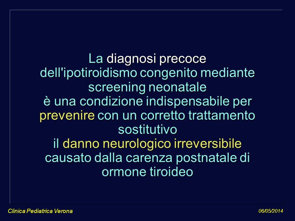 06/05/2014 Clinica Pediatrica Verona La diagnosi precoce dell'ipotiroidismo congenito mediante screening neonatale è una condizione indispensabile per
