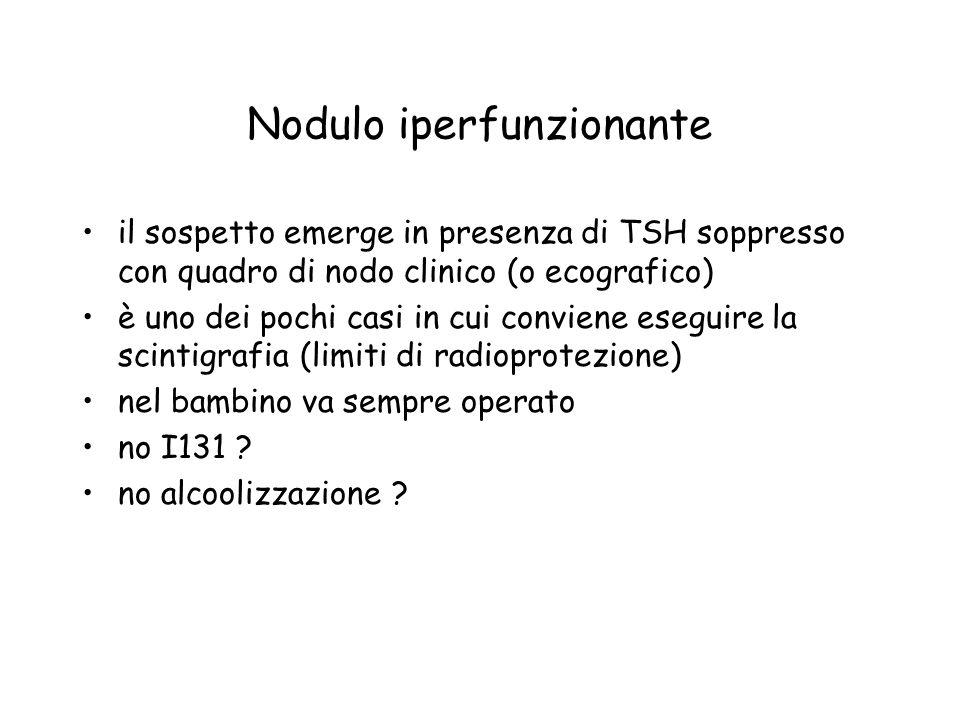 Nodulo iperfunzionante il sospetto emerge in presenza di TSH soppresso con quadro di nodo clinico (o ecografico) è uno dei pochi casi in cui conviene