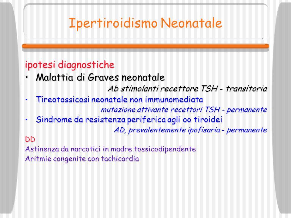Ipertiroidismo Neonatale ipotesi diagnostiche Malattia di Graves neonataleMalattia di Graves neonatale Ab stimolanti recettore TSH - transitoria Tireo