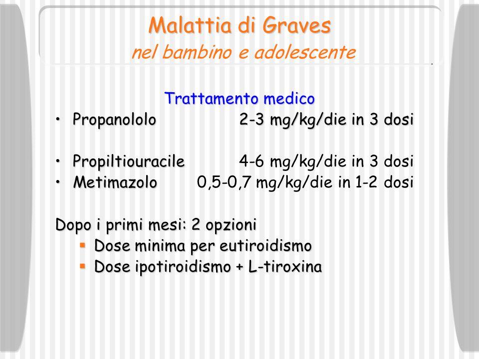 Malattia di Graves Malattia di Graves nel bambino e adolescente Trattamento medico Propanololo2-3 mg/kg/die in 3 dosiPropanololo2-3 mg/kg/die in 3 dos
