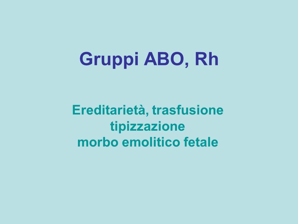 Gruppi sanguigni Ogni individuo può presentare sulla superficie esterna degli eritrociti un marcatore (agglutinogeno o antigene) di tipo A,B,AB o nessuno nel plasma può essere presente un anticorpo o agglutinina (anti A –alfa, anti B-beta, alfa e beta, nessuna)