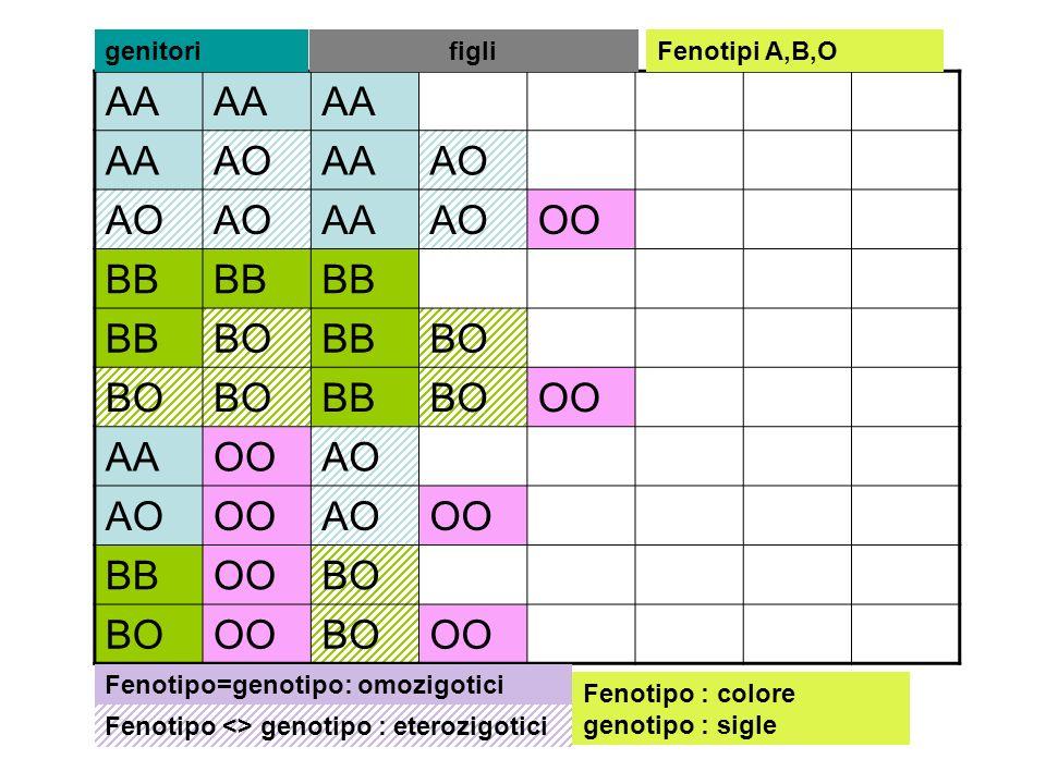 AA AOAAAO AAAOOO BB BOBBBO BBBOOO AAOOAO OOAOOO BBOOBO OOBOOO genitorifigli Fenotipo=genotipo: omozigotici Fenotipo <> genotipo : eterozigotici Fenoti