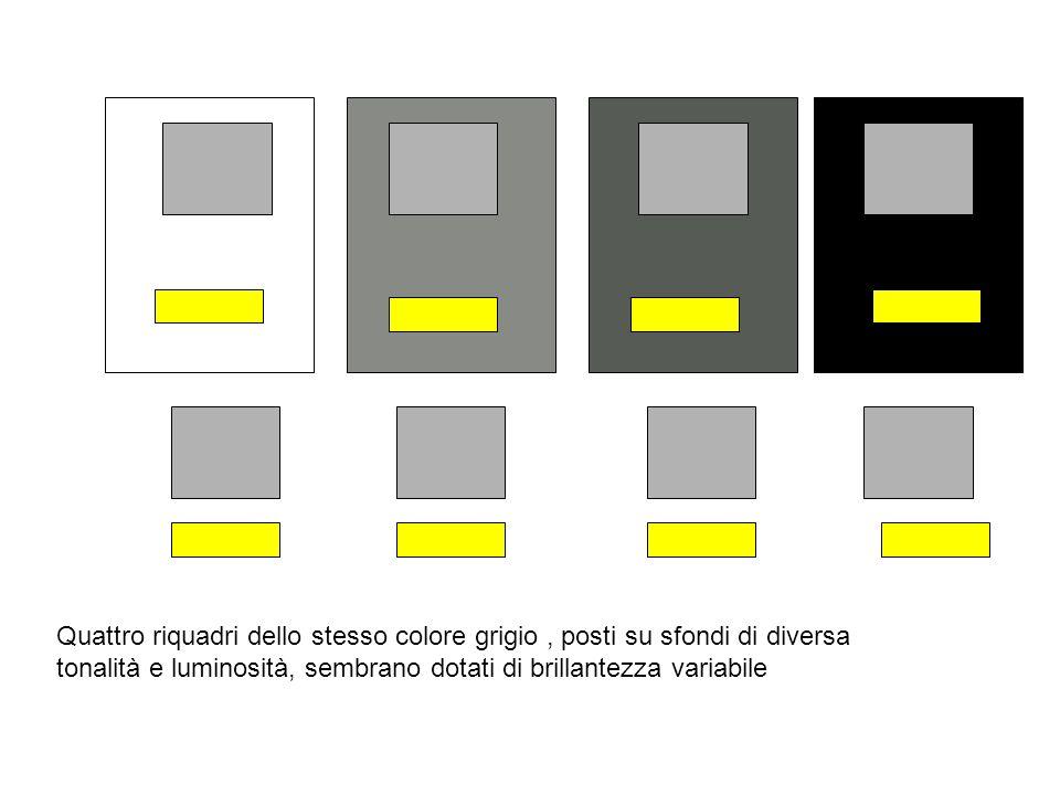 Quattro riquadri dello stesso colore grigio, posti su sfondi di diversa tonalità e luminosità, sembrano dotati di brillantezza variabile