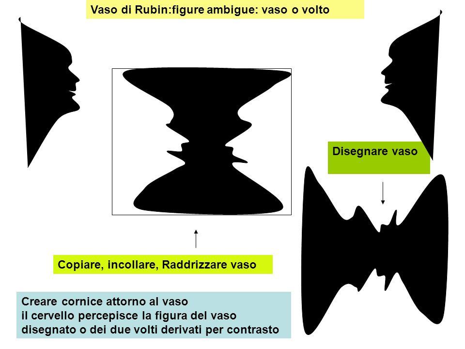 Vaso di Rubin:figure ambigue: vaso o volto Disegnare vaso Copiare, incollare, Raddrizzare vaso Creare cornice attorno al vaso il cervello percepisce l