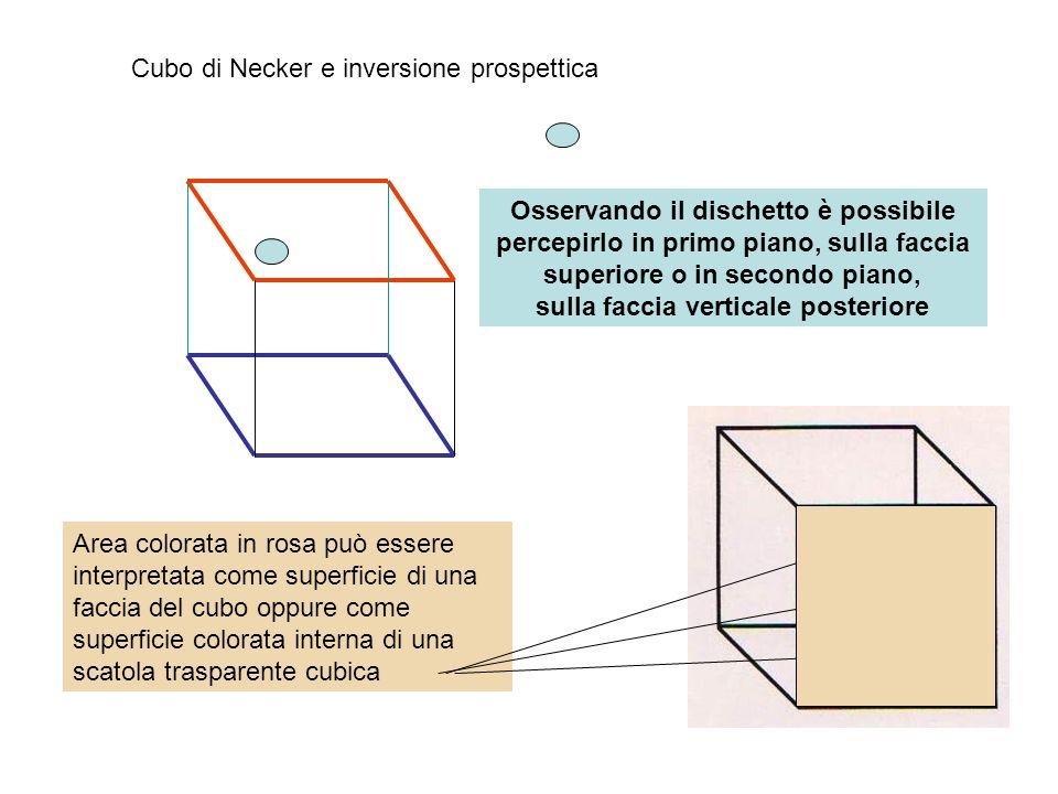 Cubo di Necker e inversione prospettica Osservando il dischetto è possibile percepirlo in primo piano, sulla faccia superiore o in secondo piano, sull