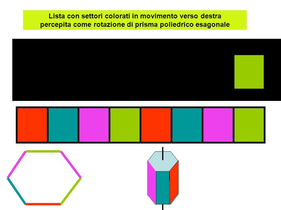 Lista con settori colorati in movimento verso destra percepita come rotazione di prisma poliedrico esagonale