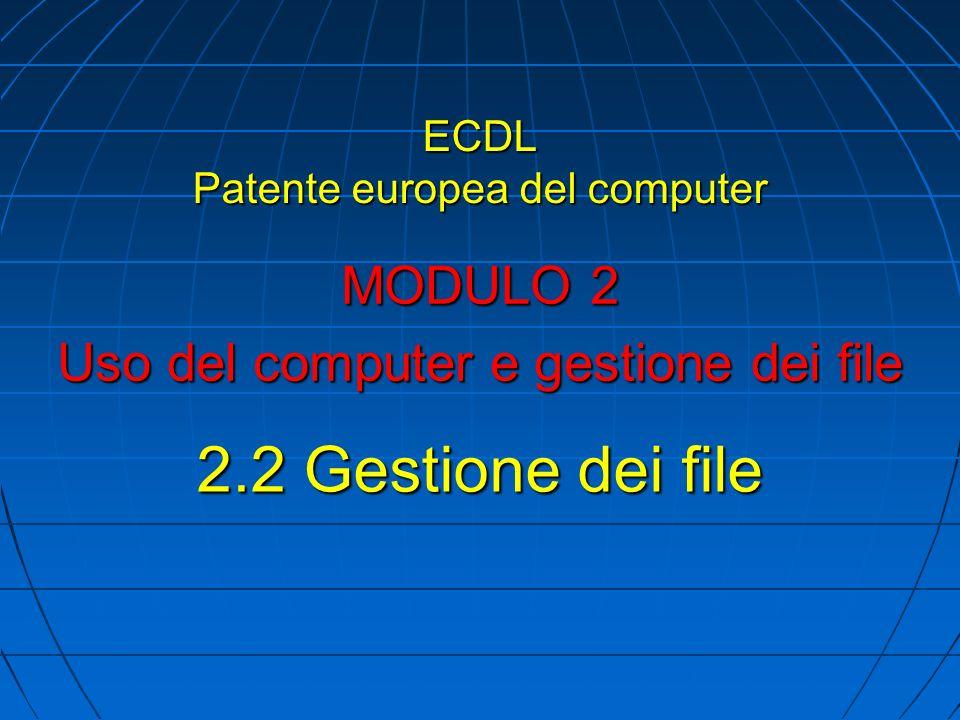 ECDL Patente europea del computer MODULO 2 Uso del computer e gestione dei file 2.2 Gestione dei file