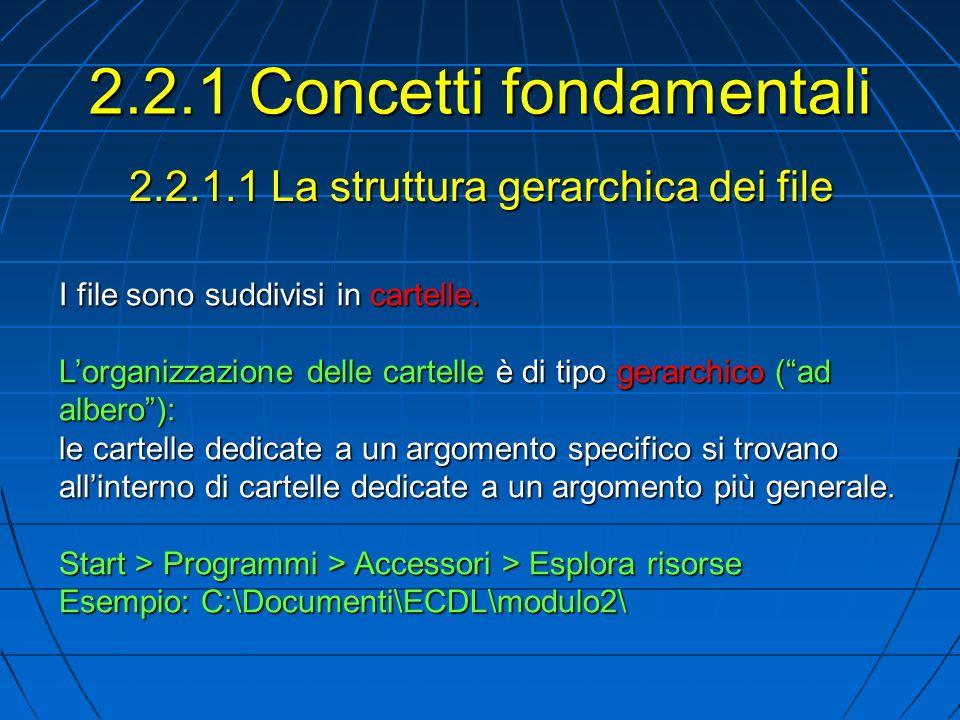 2.2.1.1 La struttura gerarchica dei file I file sono suddivisi in cartelle.