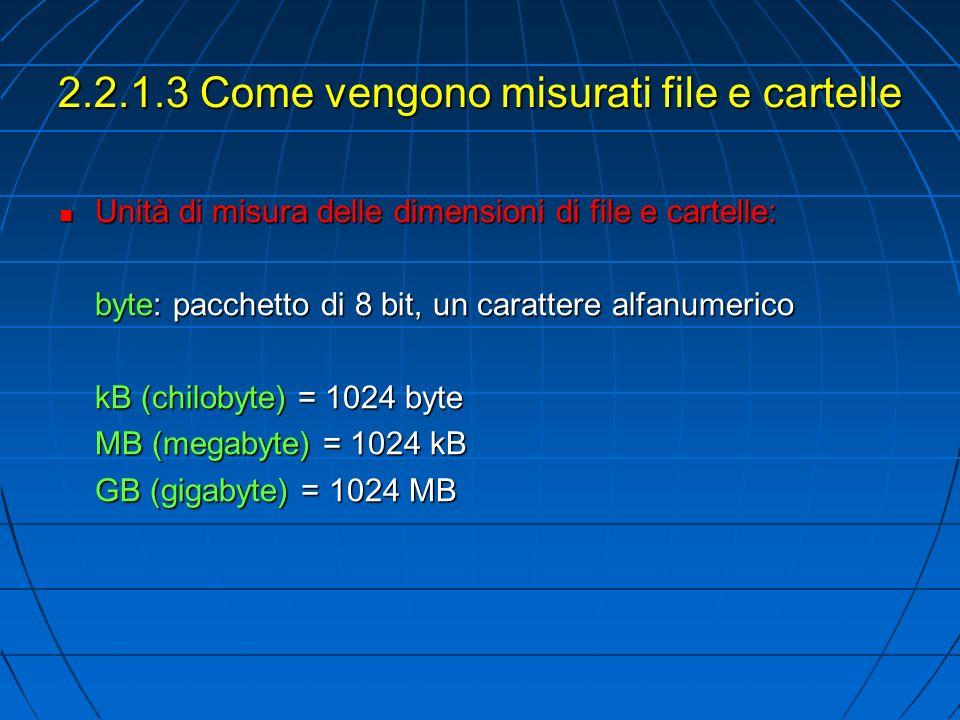 2.2.1.3 Come vengono misurati file e cartelle Unità di misura delle dimensioni di file e cartelle: Unità di misura delle dimensioni di file e cartelle: byte: pacchetto di 8 bit, un carattere alfanumerico kB (chilobyte) = 1024 byte MB (megabyte) = 1024 kB GB (gigabyte) = 1024 MB