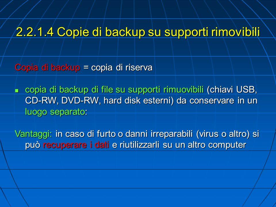 2.2.1.4 Copie di backup su supporti rimovibili Copia di backup = copia di riserva copia di backup di file su supporti rimuovibili (chiavi USB, CD-RW, DVD-RW, hard disk esterni) da conservare in un luogo separato: copia di backup di file su supporti rimuovibili (chiavi USB, CD-RW, DVD-RW, hard disk esterni) da conservare in un luogo separato: Vantaggi: in caso di furto o danni irreparabili (virus o altro) si può recuperare i dati e riutilizzarli su un altro computer