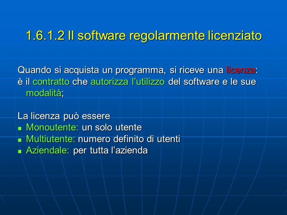 Quando si acquista un programma, si riceve una licenza: è il contratto che autorizza lutilizzo del software e le sue modalità; La licenza può essere M