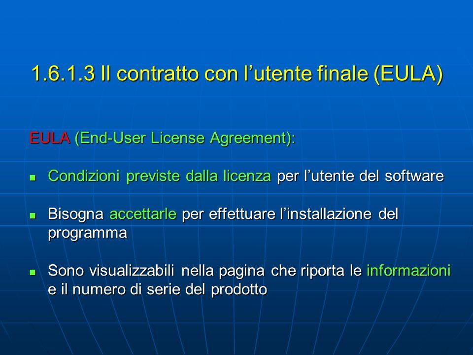 EULA (End-User License Agreement): Condizioni previste dalla licenza per lutente del software Condizioni previste dalla licenza per lutente del softwa