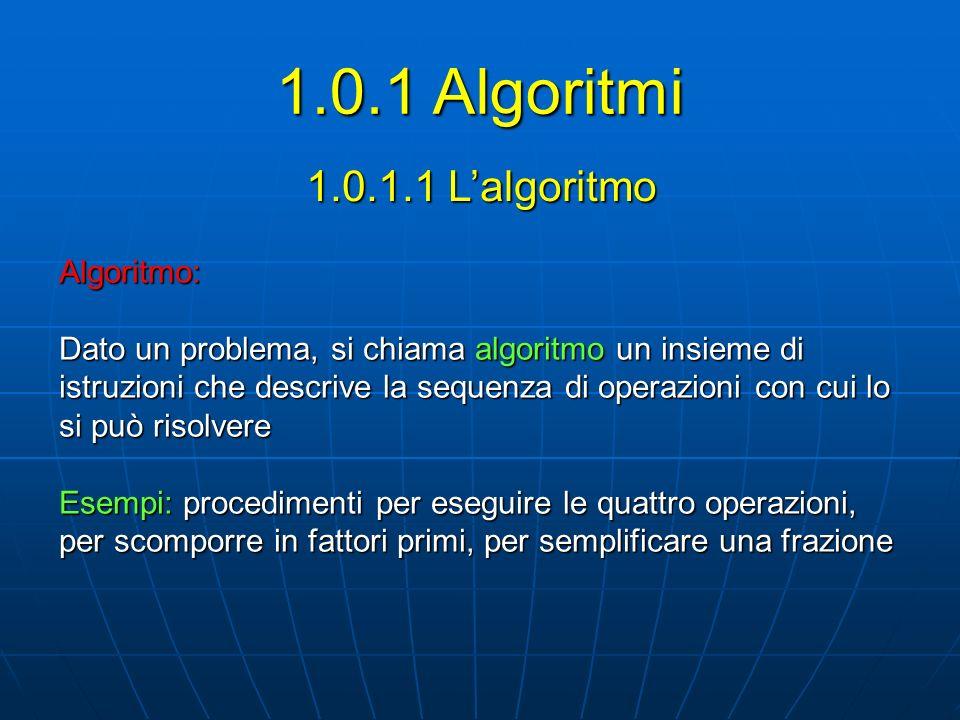 1.0.1.1 Lalgoritmo Algoritmo: Dato un problema, si chiama algoritmo un insieme di istruzioni che descrive la sequenza di operazioni con cui lo si può