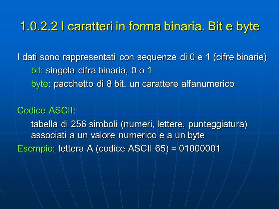 1.0.2.2 I caratteri in forma binaria. Bit e byte I dati sono rappresentati con sequenze di 0 e 1 (cifre binarie) bit: singola cifra binaria, 0 o 1 byt