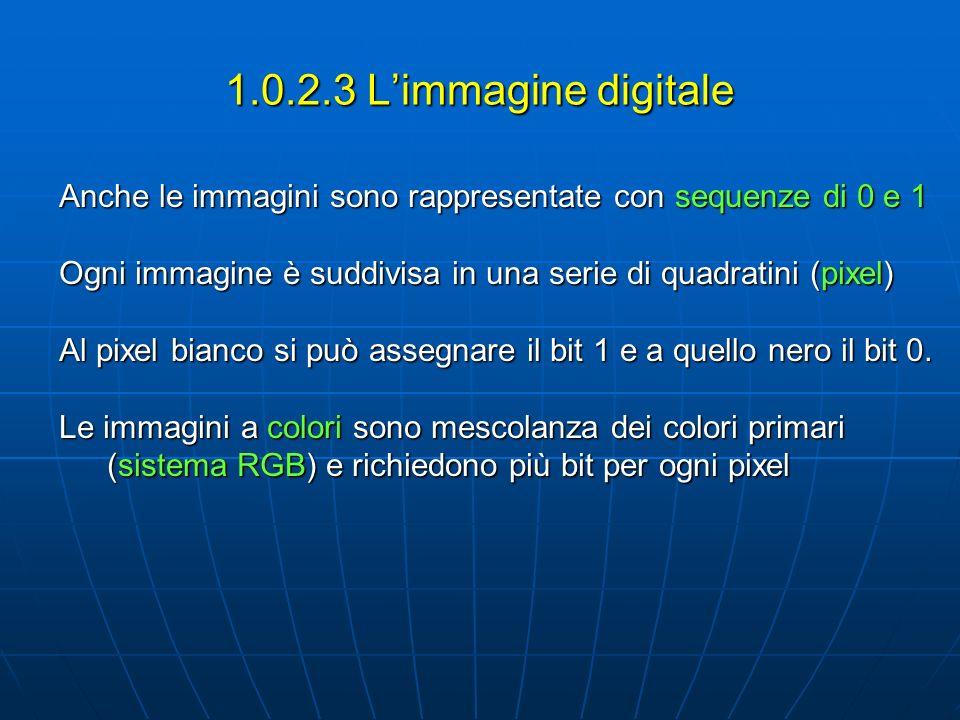 1.0.2.3 Limmagine digitale Anche le immagini sono rappresentate con sequenze di 0 e 1 Ogni immagine è suddivisa in una serie di quadratini (pixel) Al