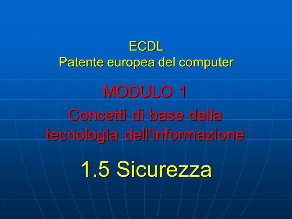 ECDL Patente europea del computer MODULO 1 Concetti di base della tecnologia dellinformazione 1.5 Sicurezza
