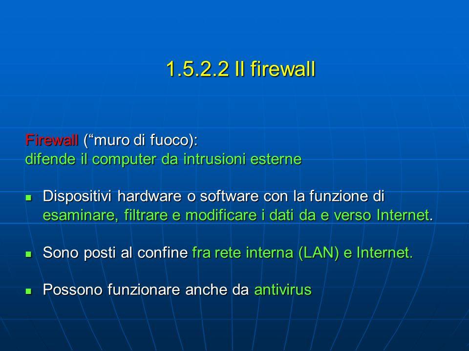 Firewall (muro di fuoco): difende il computer da intrusioni esterne Dispositivi hardware o software con la funzione di esaminare, filtrare e modificare i dati da e verso Internet.