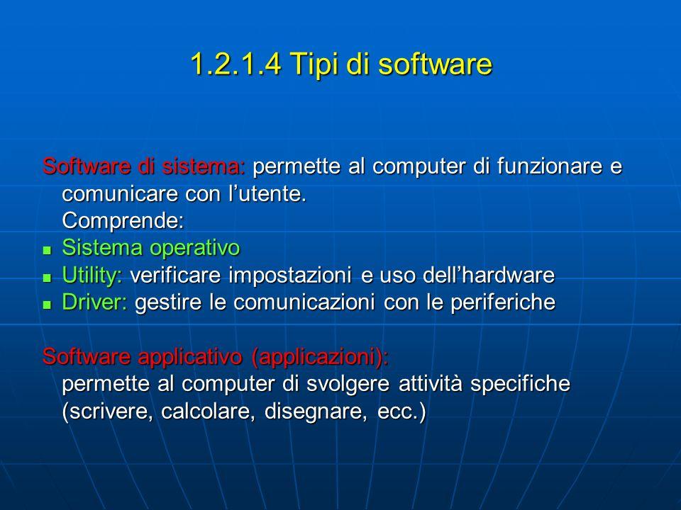1.2.1.4 Tipi di software Software di sistema: permette al computer di funzionare e comunicare con lutente. Comprende: Sistema operativo Sistema operat
