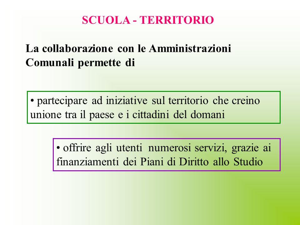 SCUOLA - TERRITORIO offrire agli utenti numerosi servizi, grazie ai finanziamenti dei Piani di Diritto allo Studio La collaborazione con le Amministra