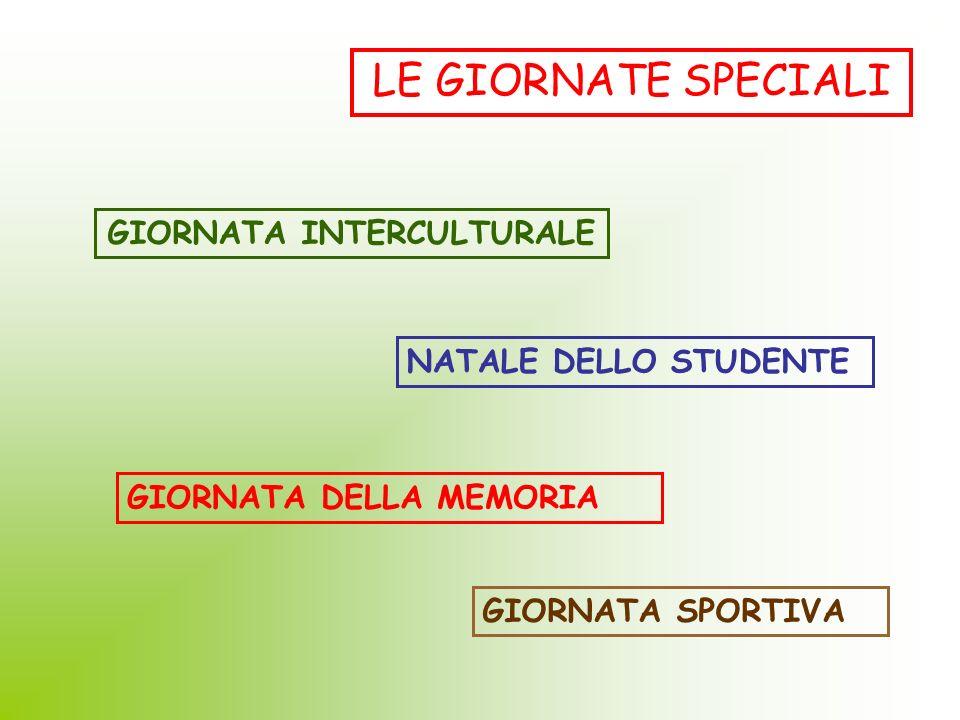 LE GIORNATE SPECIALI GIORNATA INTERCULTURALE NATALE DELLO STUDENTE GIORNATA SPORTIVA GIORNATA DELLA MEMORIA
