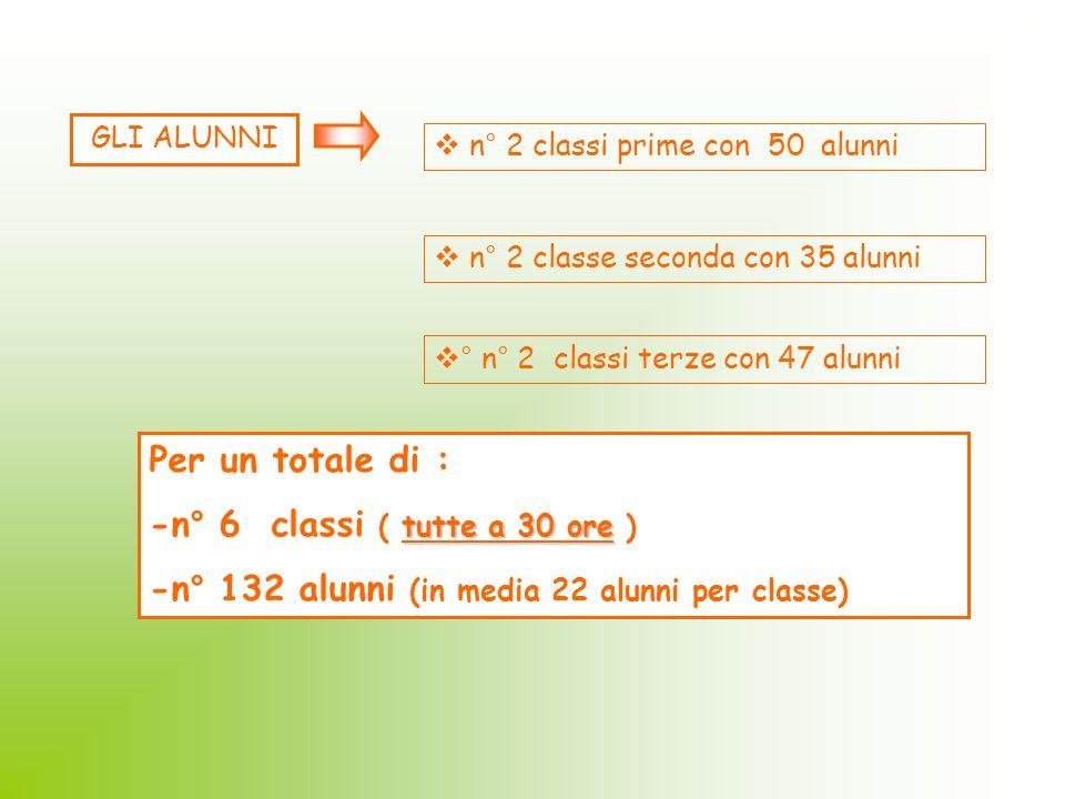 GLI ALUNNI n° 2 classi prime con 50 alunni n° 2 classe seconda con 35 alunni ° n° 2 classi terze con 47 alunni Per un totale di : tutte a 30 ore -n° 6