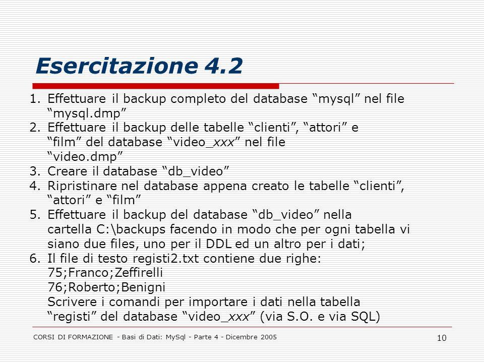 CORSI DI FORMAZIONE - Basi di Dati: MySql - Parte 4 - Dicembre 2005 10 Esercitazione 4.2 1.Effettuare il backup completo del database mysql nel file mysql.dmp 2.Effettuare il backup delle tabelle clienti, attori e film del database video_xxx nel file video.dmp 3.Creare il database db_video 4.Ripristinare nel database appena creato le tabelle clienti, attori e film 5.Effettuare il backup del database db_video nella cartella C:\backups facendo in modo che per ogni tabella vi siano due files, uno per il DDL ed un altro per i dati; 6.Il file di testo registi2.txt contiene due righe: 75;Franco;Zeffirelli 76;Roberto;Benigni Scrivere i comandi per importare i dati nella tabella registi del database video_xxx (via S.O.