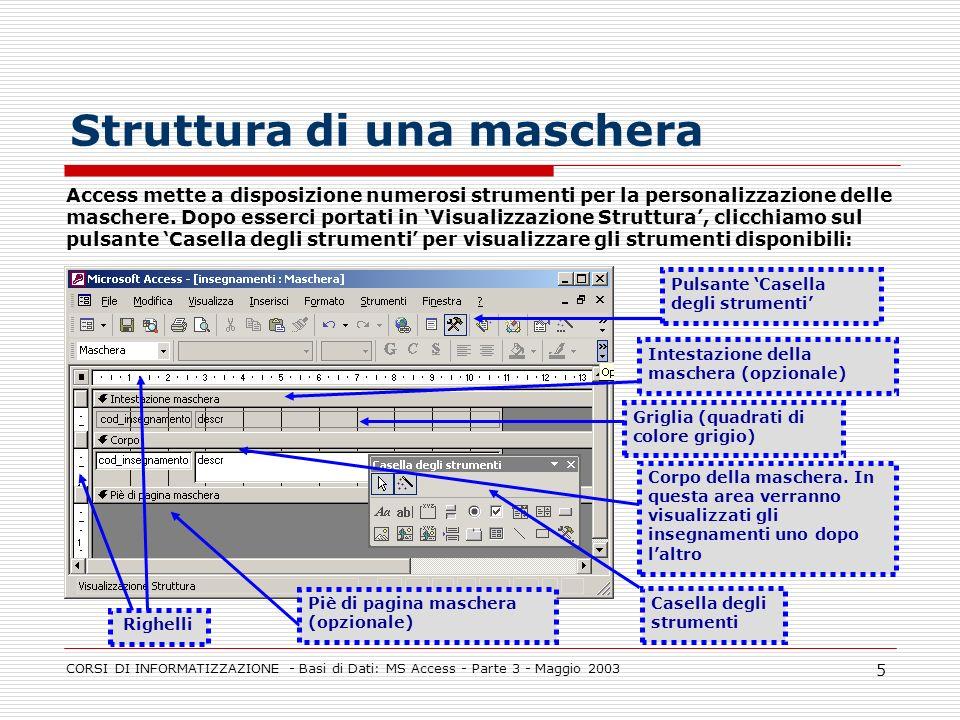 CORSI DI INFORMATIZZAZIONE - Basi di Dati: MS Access - Parte 3 - Maggio 2003 5 Struttura di una maschera Access mette a disposizione numerosi strument