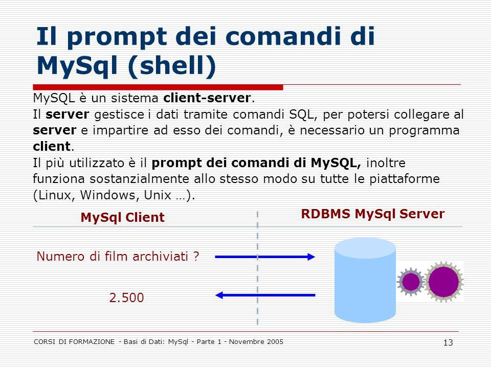 CORSI DI FORMAZIONE - Basi di Dati: MySql - Parte 1 - Novembre 2005 13 Il prompt dei comandi di MySql (shell) MySQL è un sistema client-server. Il ser