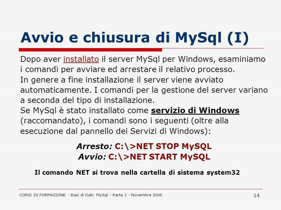 CORSI DI FORMAZIONE - Basi di Dati: MySql - Parte 1 - Novembre 2005 14 Avvio e chiusura di MySql (I) Dopo aver installato il server MySql per Windows,