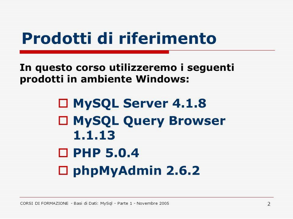 CORSI DI FORMAZIONE - Basi di Dati: MySql - Parte 1 - Novembre 2005 2 Prodotti di riferimento MySQL Server 4.1.8 MySQL Query Browser 1.1.13 PHP 5.0.4