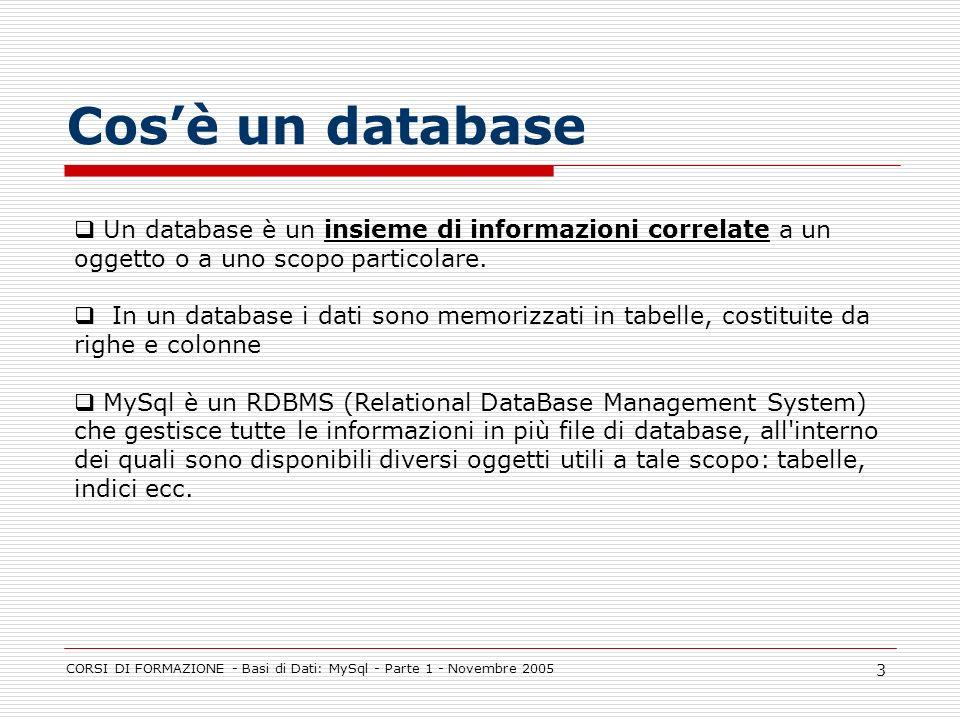 CORSI DI FORMAZIONE - Basi di Dati: MySql - Parte 1 - Novembre 2005 3 Cosè un database Un database è un insieme di informazioni correlate a un oggetto