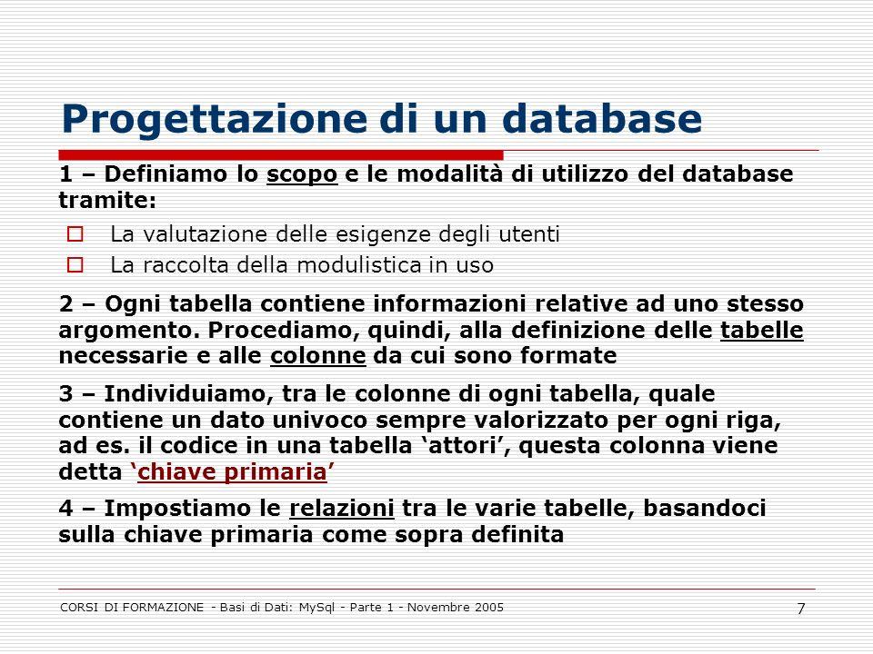 CORSI DI FORMAZIONE - Basi di Dati: MySql - Parte 1 - Novembre 2005 7 La valutazione delle esigenze degli utenti La raccolta della modulistica in uso