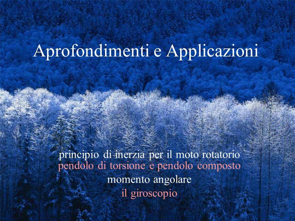 2 Il Principio Di Inerzia Nel Moto Rotatorio IL PRINCIPIO IL PENDOLO DI TORSIONE IL PENDOLO COMPOSTO UN ESEMPIO