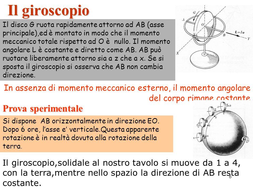 6 Il giroscopio In assenza di momento meccanico esterno, il momento angolare del corpo rimane costante Il disco G ruota rapidamente attorno ad AB (asse principale),ed è montato in modo che il momento meccanico totale rispetto ad O è nullo.