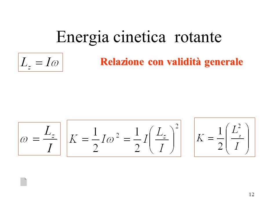 12 Energia cinetica rotante Relazione con validità generale