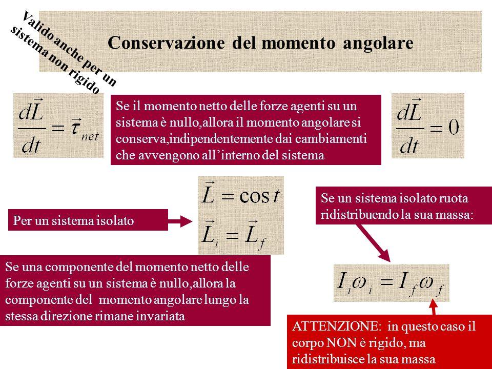14 Conservazione del momento angolare Se il momento netto delle forze agenti su un sistema è nullo,allora il momento angolare si conserva,indipendente