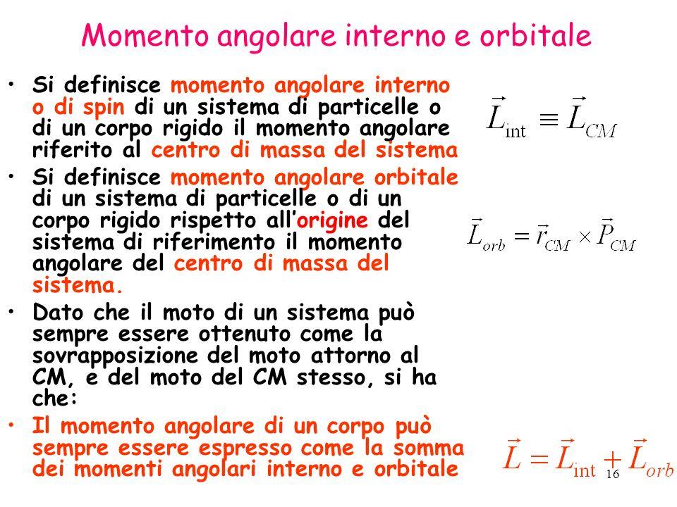 16 Momento angolare interno e orbitale Si definisce momento angolare interno o di spin di un sistema di particelle o di un corpo rigido il momento angolare riferito al centro di massa del sistema Si definisce momento angolare orbitale di un sistema di particelle o di un corpo rigido rispetto allorigine del sistema di riferimento il momento angolare del centro di massa del sistema.
