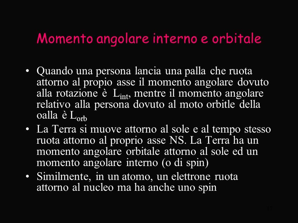 17 Momento angolare interno e orbitale Quando una persona lancia una palla che ruota attorno al propio asse il momento angolare dovuto alla rotazione