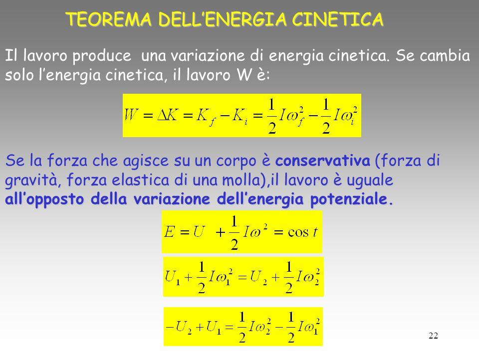 22 TEOREMA DELLENERGIA CINETICA Il lavoro produce una variazione di energia cinetica. Se cambia solo lenergia cinetica, il lavoro W è: Se la forza che