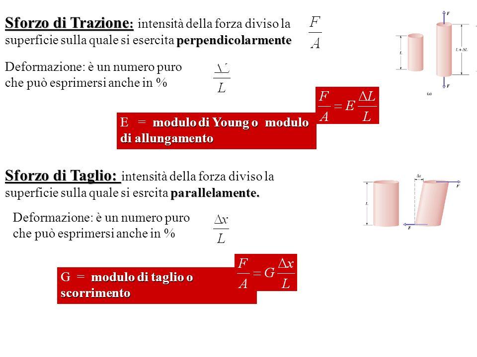 Sforzo di Trazione : perpendicolarmente Sforzo di Trazione : intensità della forza diviso la superficie sulla quale si esercita perpendicolarmente Deformazione: è un numero puro che può esprimersi anche in % modulo di Young o modulo di allungamento E = modulo di Young o modulo di allungamento Sforzo di Taglio: parallelamente.