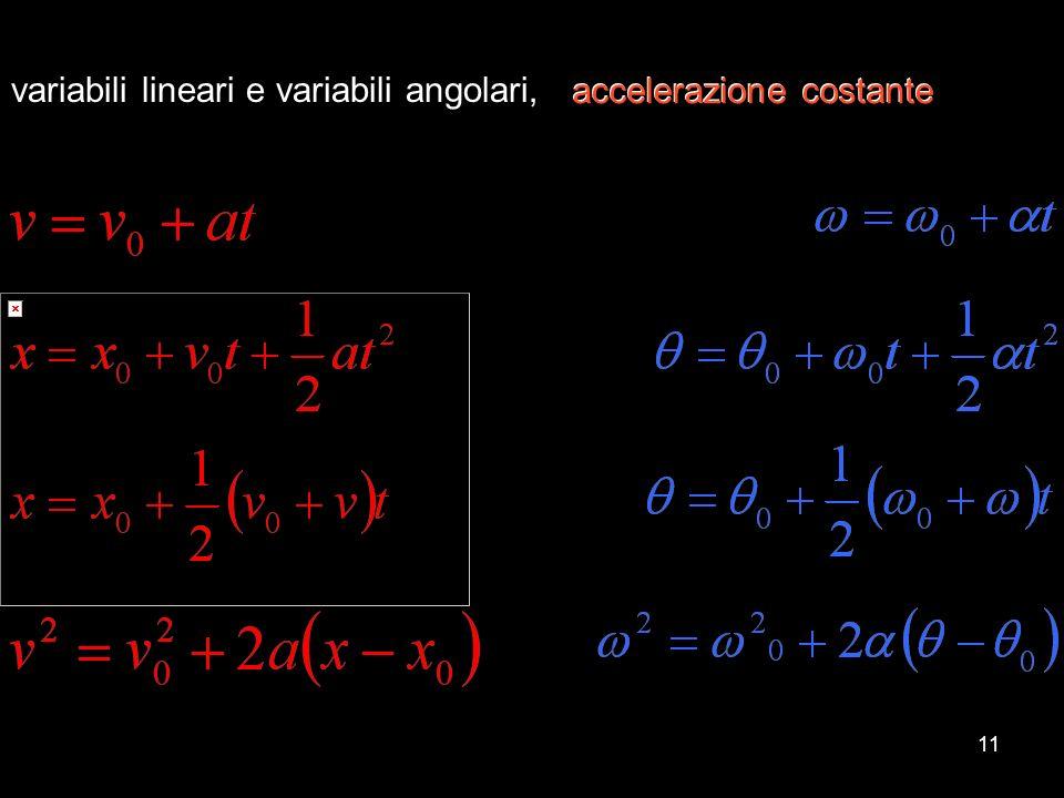 11 variabili lineari e variabili angolari, accelerazione costante accelerazione costante