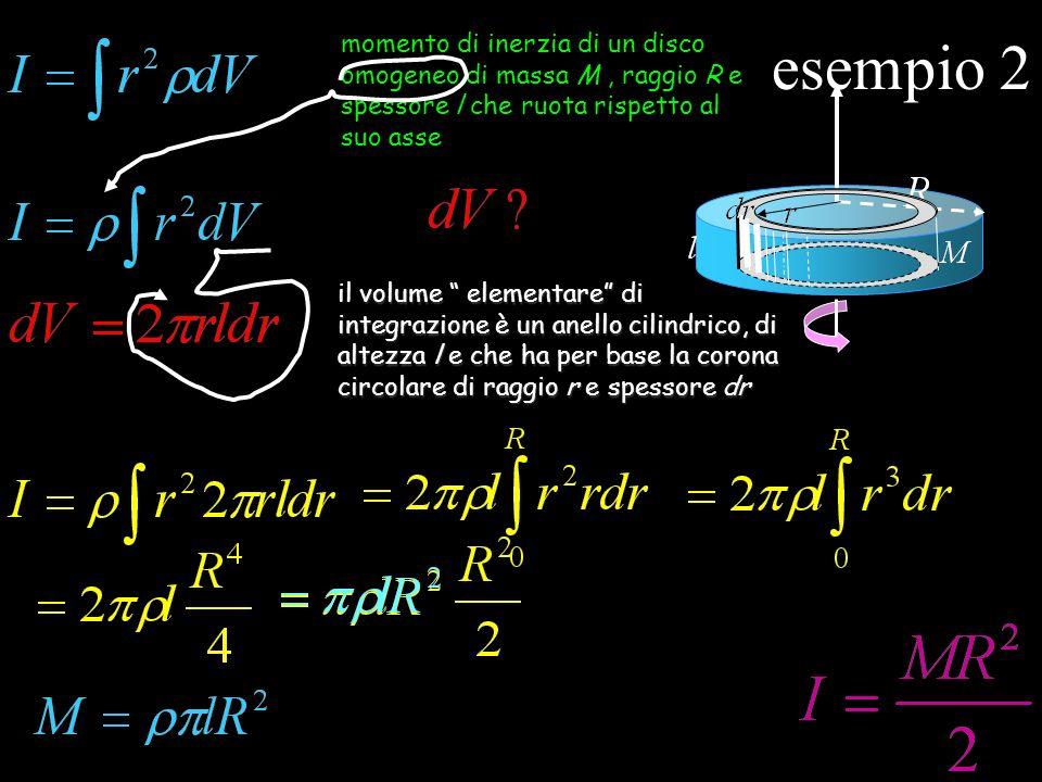 esempio 2 momento di inerzia di un disco omogeneo di massa M, raggio R e spessore l che ruota rispetto al suo asse volume elementare di integrazione è