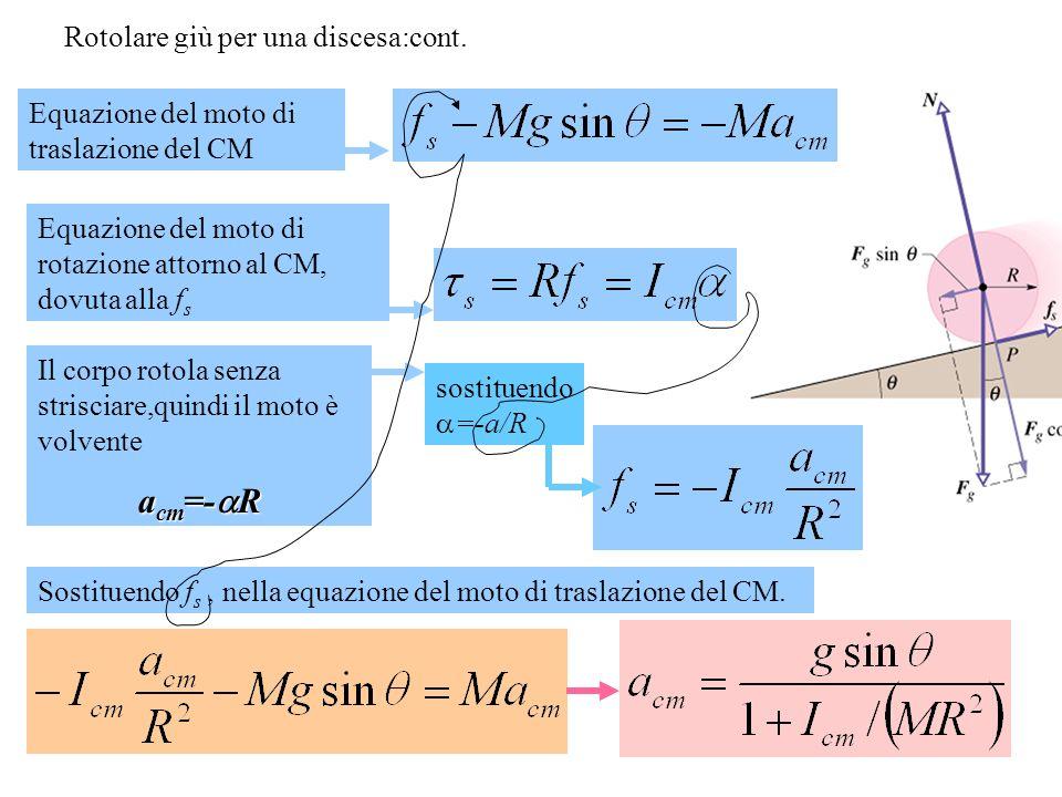 Rotolare giù per una discesa:cont. Il corpo rotola senza strisciare,quindi il moto è volvente a cm =- R Equazione del moto di traslazione del CM Equaz
