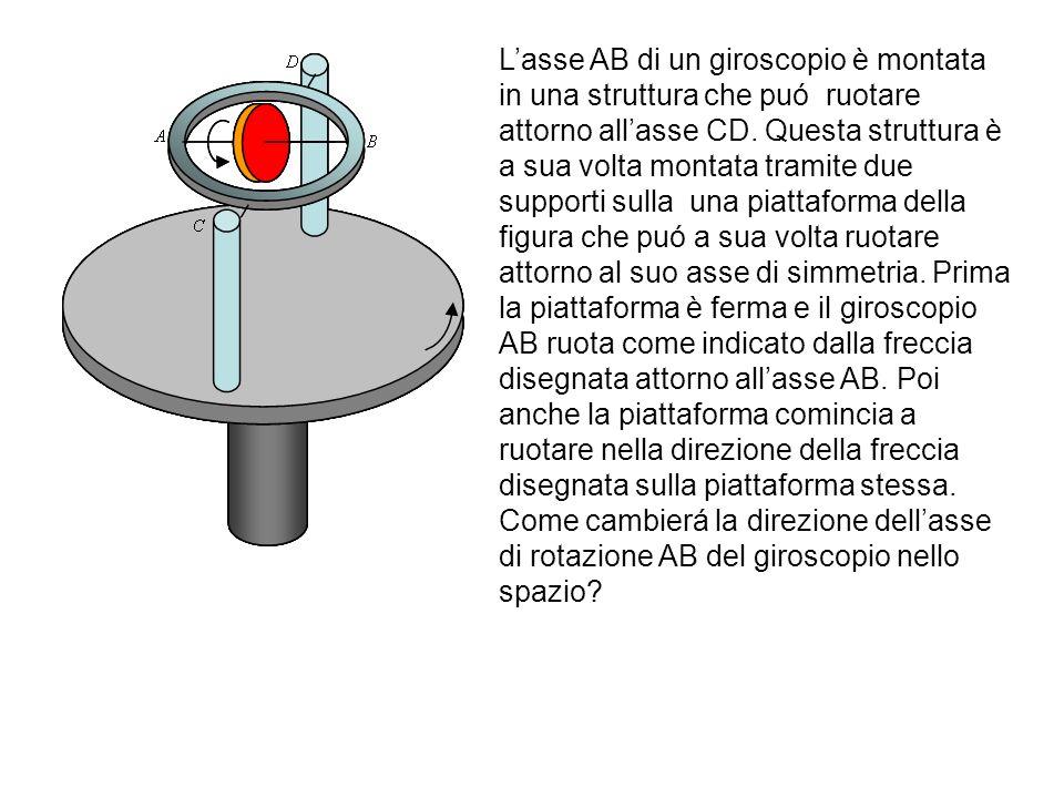 Lasse AB di un giroscopio è montata in una struttura che puó ruotare attorno allasse CD. Questa struttura è a sua volta montata tramite due supporti s