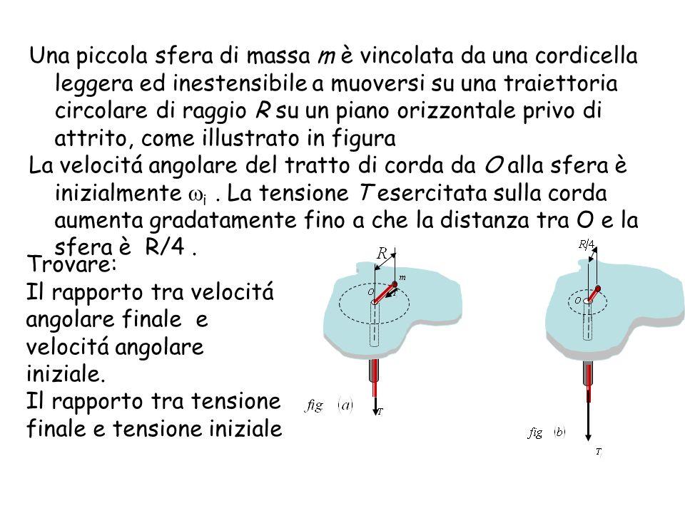 Una piccola sfera di massa m è vincolata da una cordicella leggera ed inestensibile a muoversi su una traiettoria circolare di raggio R su un piano orizzontale privo di attrito, come illustrato in figura La velocitá angolare del tratto di corda da O alla sfera è inizialmente i.