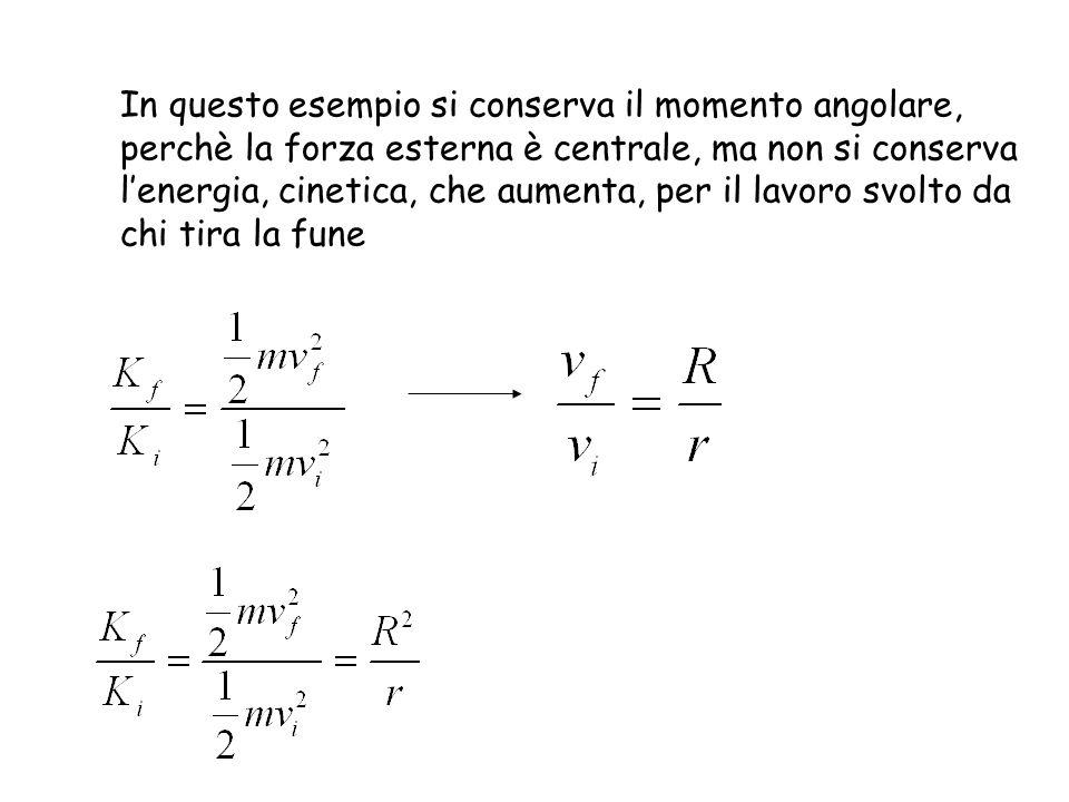 In questo esempio si conserva il momento angolare, perchè la forza esterna è centrale, ma non si conserva lenergia, cinetica, che aumenta, per il lavoro svolto da chi tira la fune