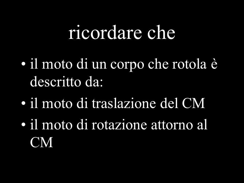 ricordare che il moto di un corpo che rotola è descritto da: il moto di traslazione del CM il moto di rotazione attorno al CM