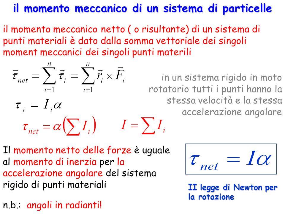 II legge di Newton per la rotazione Il momento netto delle forze è uguale al momento di inerzia per la accelerazione angolare del sistema rigido di pu