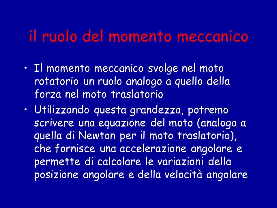 il ruolo del momento meccanico Il momento meccanico svolge nel moto rotatorio un ruolo analogo a quello della forza nel moto traslatorio Utilizzando q